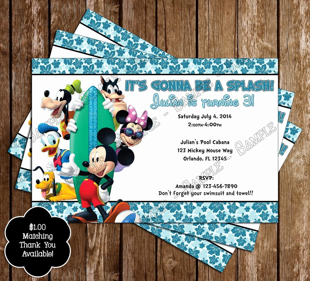 Minnie Mouse Pool Party Invitations Unique Novel Concept Designs Disney Mickey & Minnie Mouse Pool