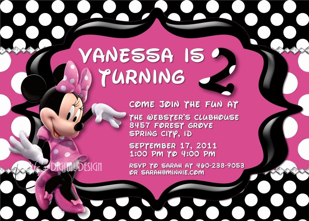 Minnie Mouse Red Invitations Awesome Minnie Mouse Invitations Birthday Pink Black and White Polka