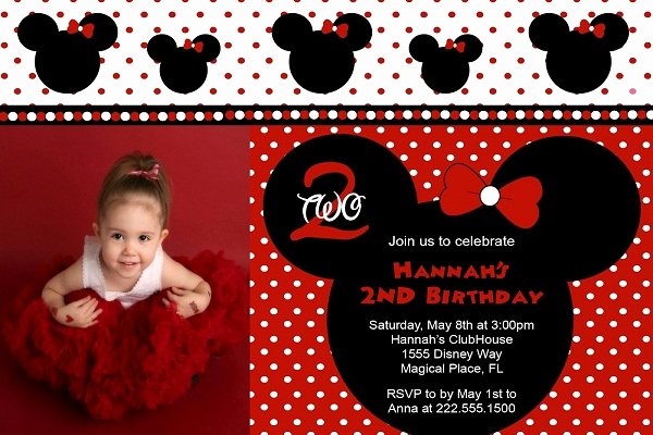 Minnie Mouse Red Invitations Beautiful Red Minnie Mouse Birthday Invitations Ideas – Bagvania