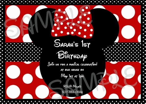 Minnie Mouse Red Invitations Best Of Girls Minnie Mouse Red and Black Polka Dot Bow Birthday