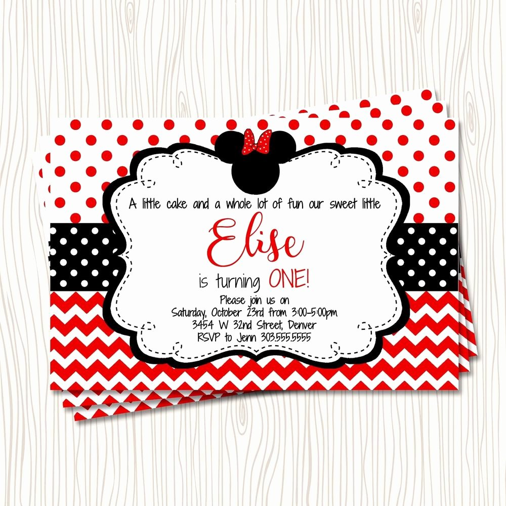 Minnie Mouse Red Invitations Best Of Minnie Mouse First 1st Red and Black Birthday Party