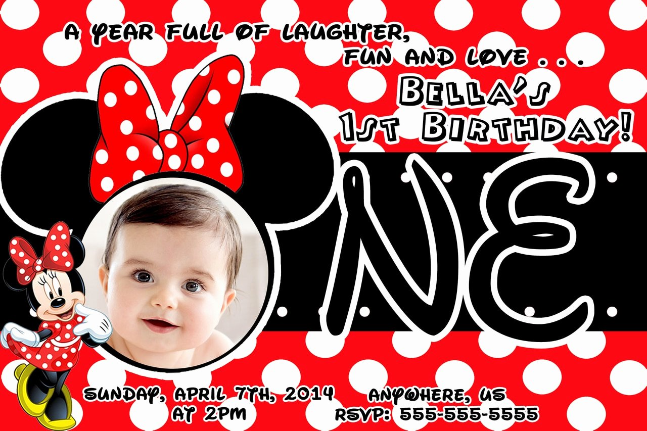 Minnie Mouse Red Invitations Best Of Red Minnie Mouse 1st Birthday Invitations
