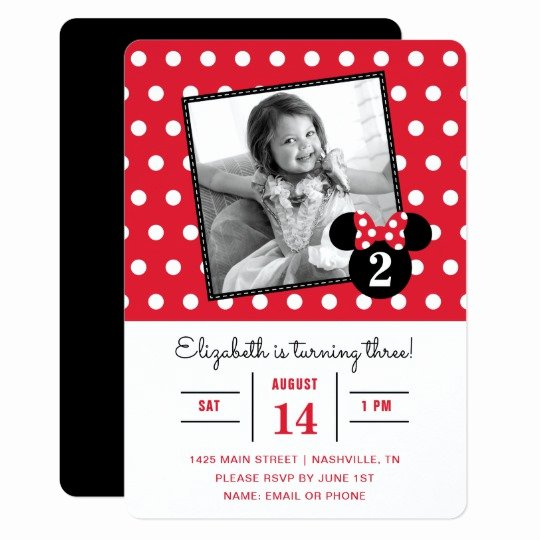 Minnie Mouse Red Invitations Elegant Minnie Mouse