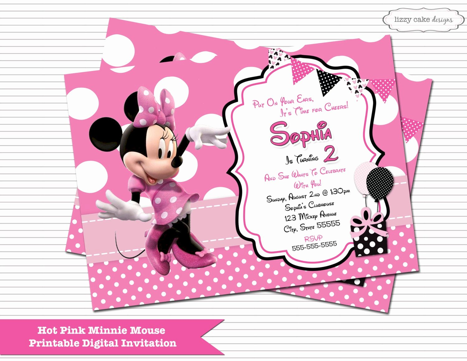 Minnie Mouse Red Invitations Fresh Hot Pink Minnie Mouse Birthday Invitation Minnie Mouse