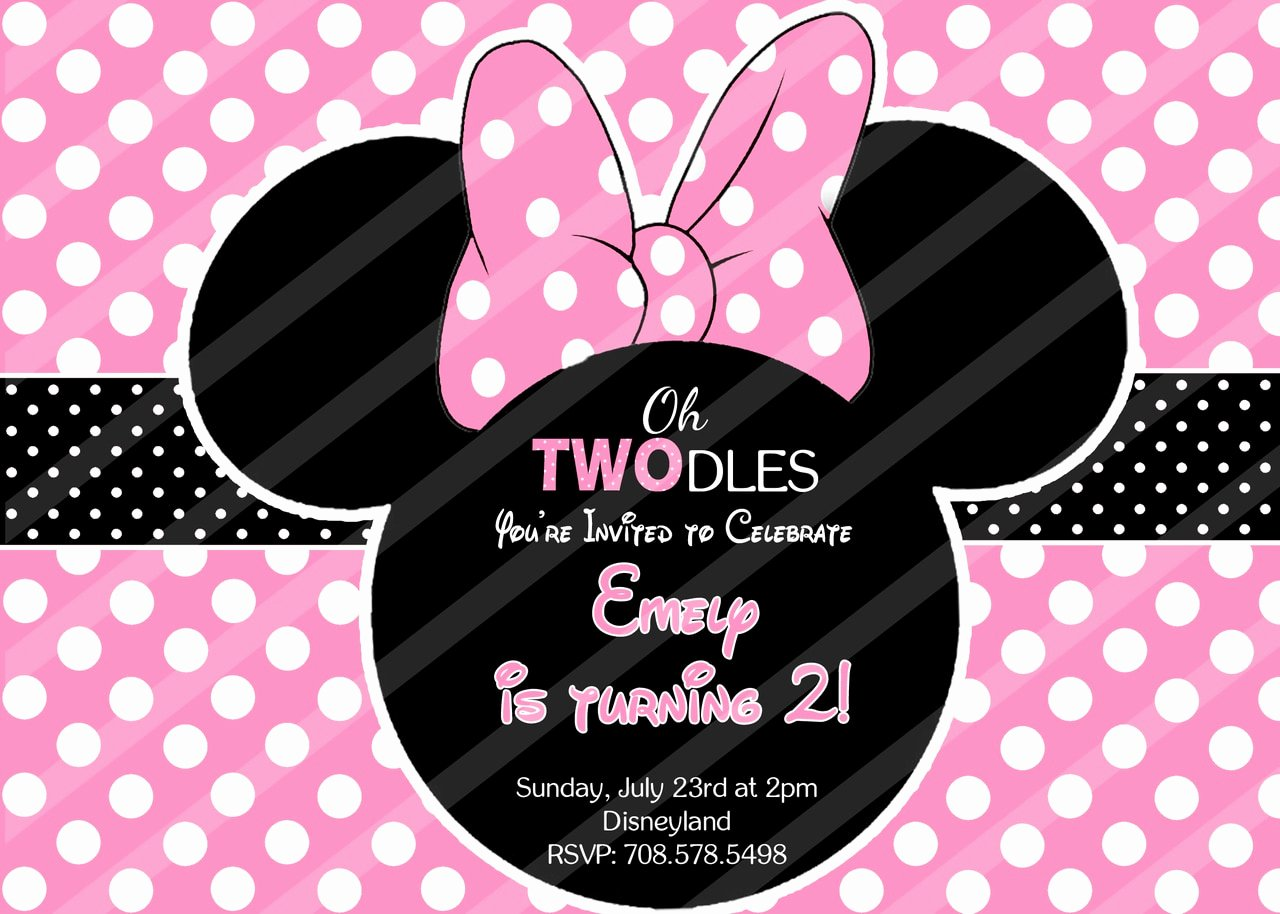 Minnie Mouse Red Invitations Inspirational Pink Minnie Mouse Birthday Invitations Polka Dots