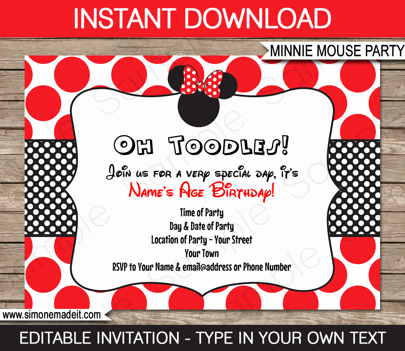 Minnie Mouse Red Invitations Lovely Minnie Mouse Birthday Party Invitations Template