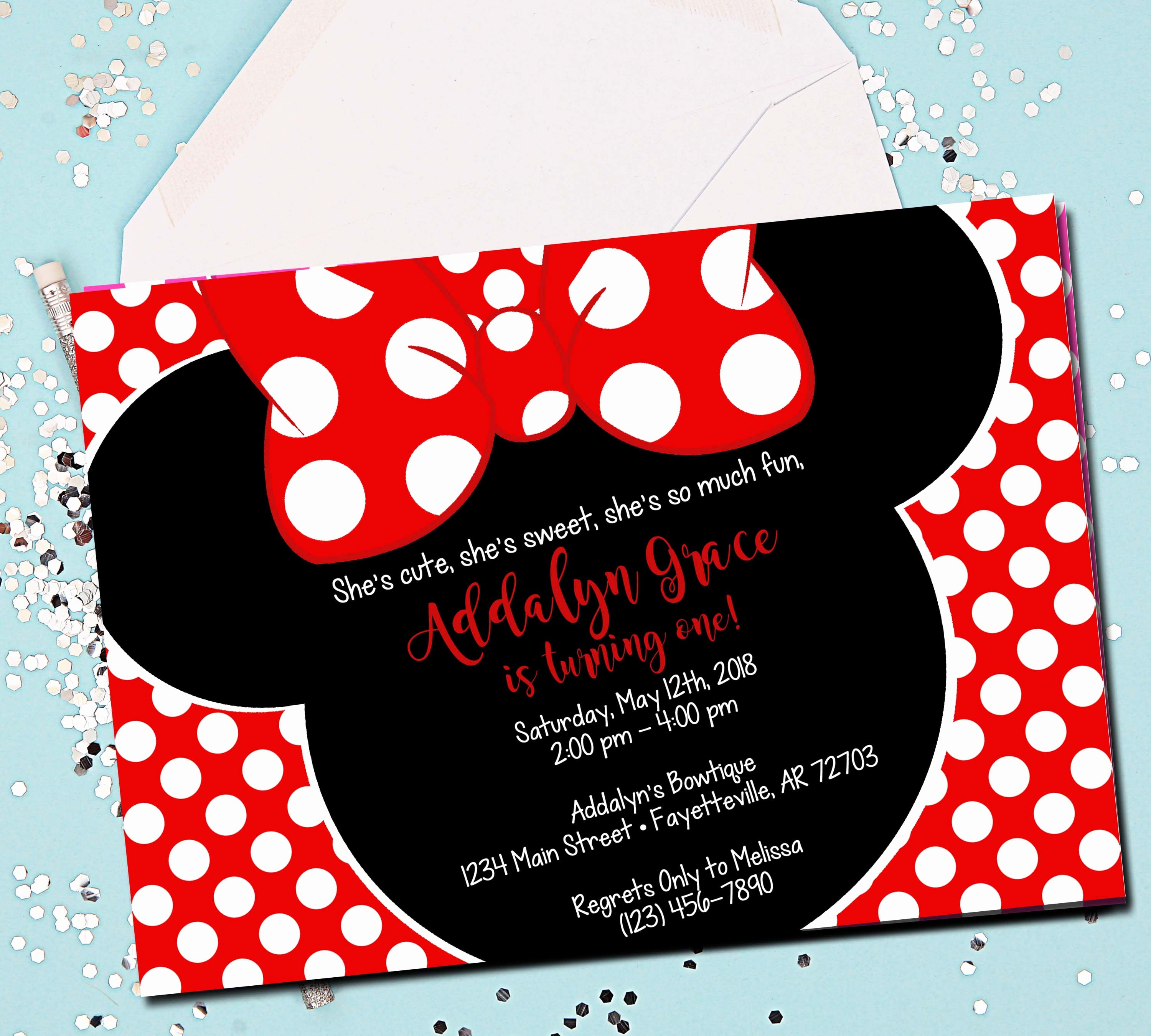 Minnie Mouse Red Invitations Lovely Minnie Mouse Invitation Red Minnie Mouse 1st Birthday