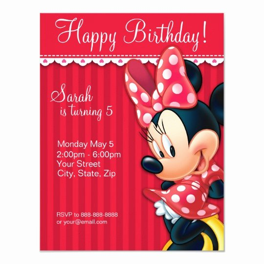 Minnie Mouse Red Invitations Lovely Minnie Red and White Birthday Invitation