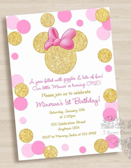 Minnie Mouse Red Invitations Luxury 10 Minnie Mouse Pink Gold 1st Birthday or Baby Shower