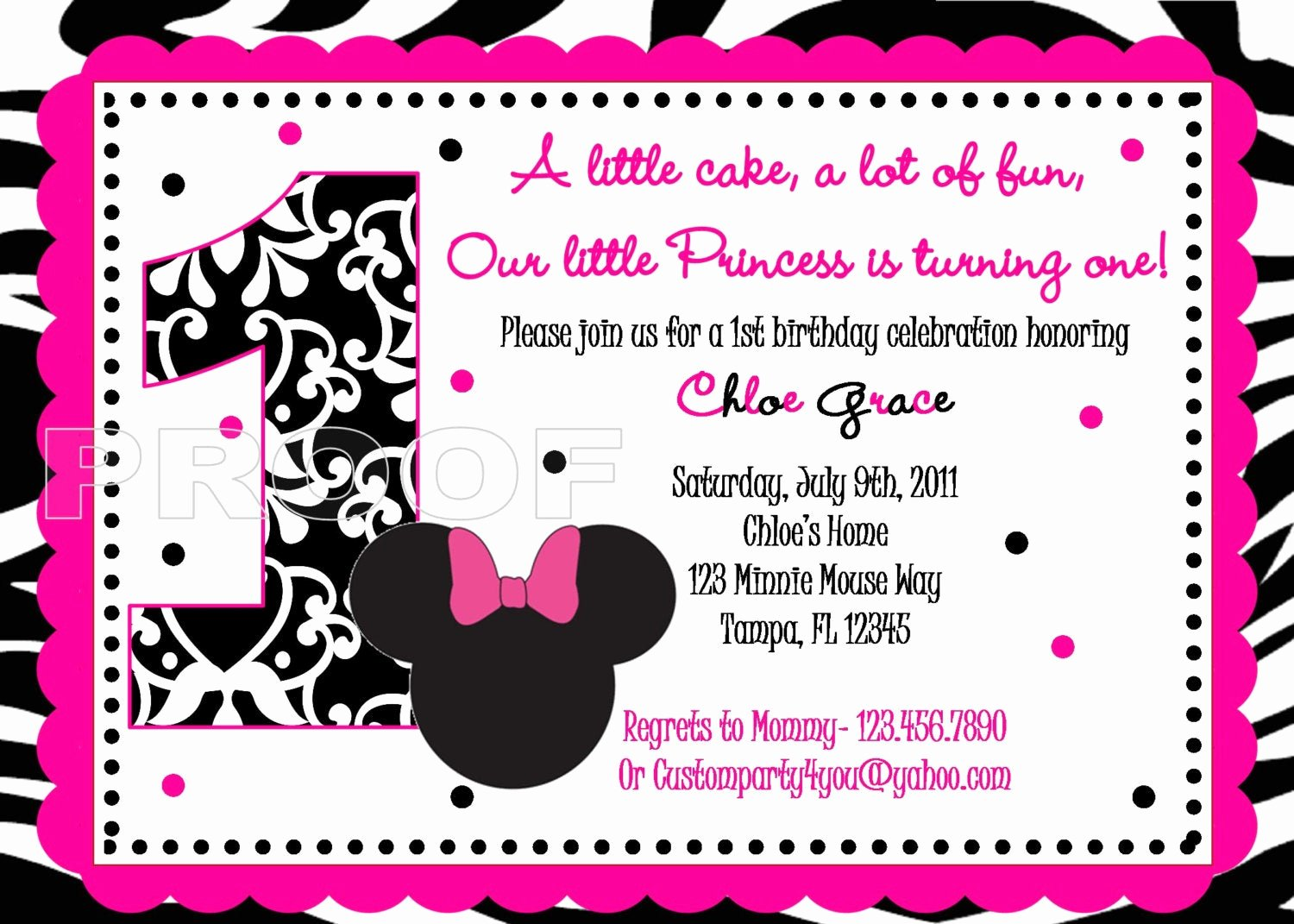 Minnie Mouse Red Invitations Luxury Pink and Black Zebra Minnie Mouse Inspired Custom Birthday
