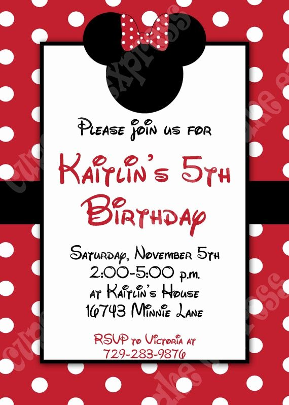 Minnie Mouse Red Invitations Unique Minnie Mouse Invitation 3 Red Printable Birthday Party