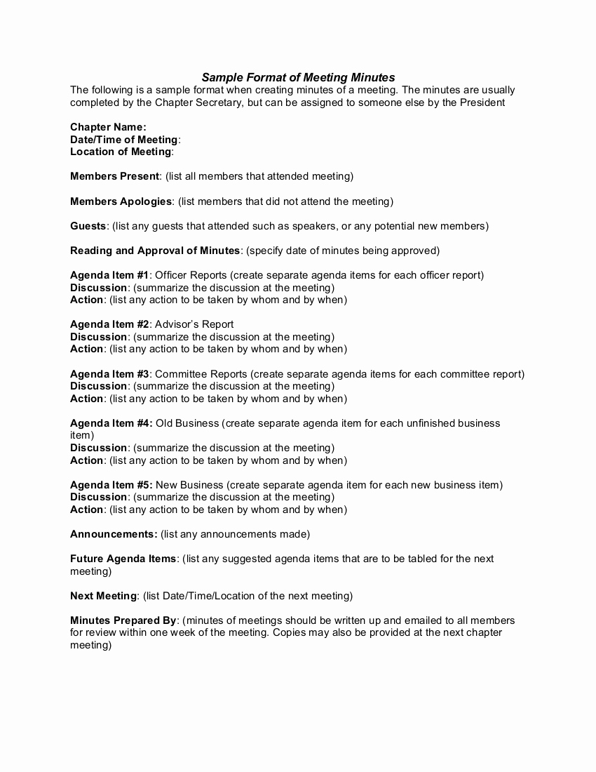 Minute Of the Meeting format Lovely Minute Writing format Minutes for A formal Meeting