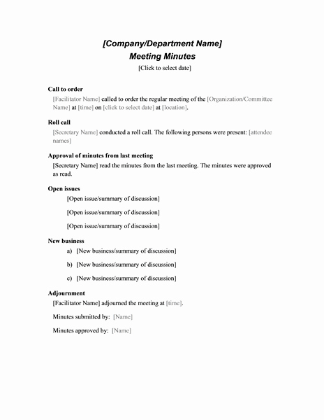 Minute Of the Meeting format Luxury formal Meeting Minutes