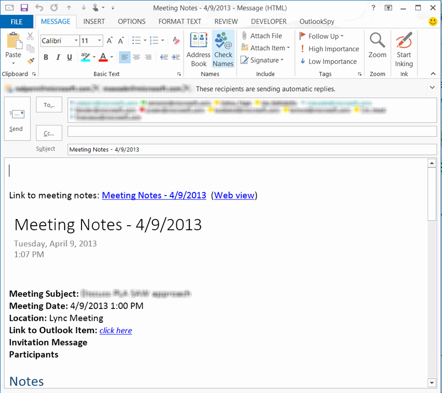 Minutes Of Meeting Email Elegant More Productive Meetings with Lync and Enote–part 1
