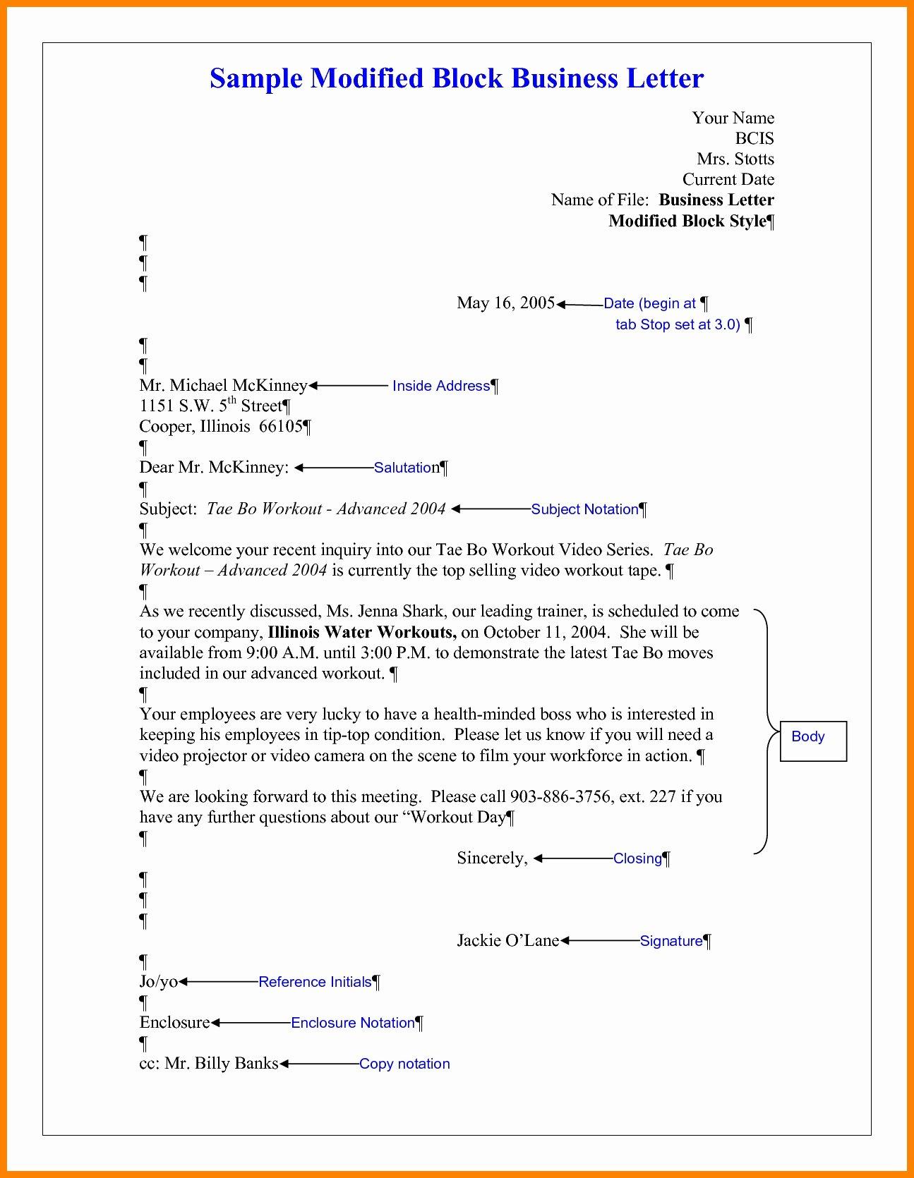 Modified Block Letter format Lovely Business Letter format Word 14