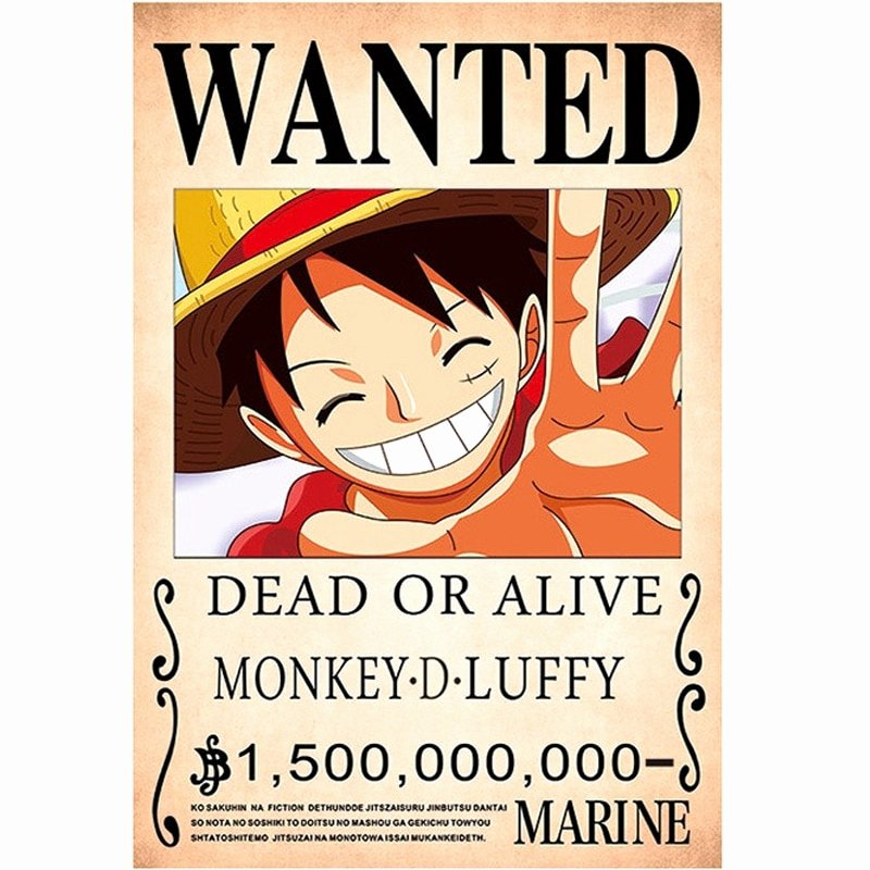 Monkey D Luffy Wanted Poster Beautiful New Arrived E Piece Anime Poster Wallpaper Monkey D