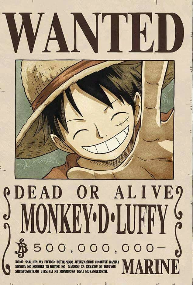"Monkey D Luffy Wanted Poster Elegant ""straw Hat"" Luffy Dressrosa Episode 746"