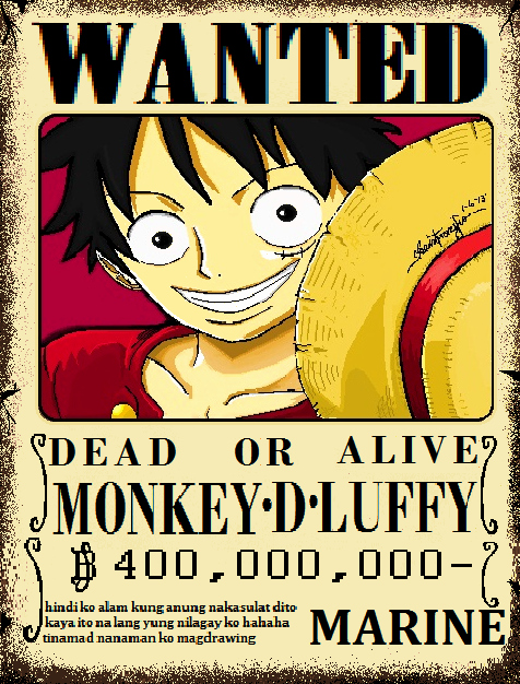 Monkey D Luffy Wanted Poster Fresh Monkey D Luffy Wanted Poster Ms Paint by Jerina Baliw