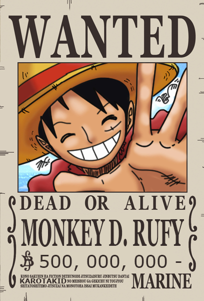 Monkey D Luffy Wanted Poster Fresh Rufy Dressrosa Wanted Poster 500 000 000 Berry by