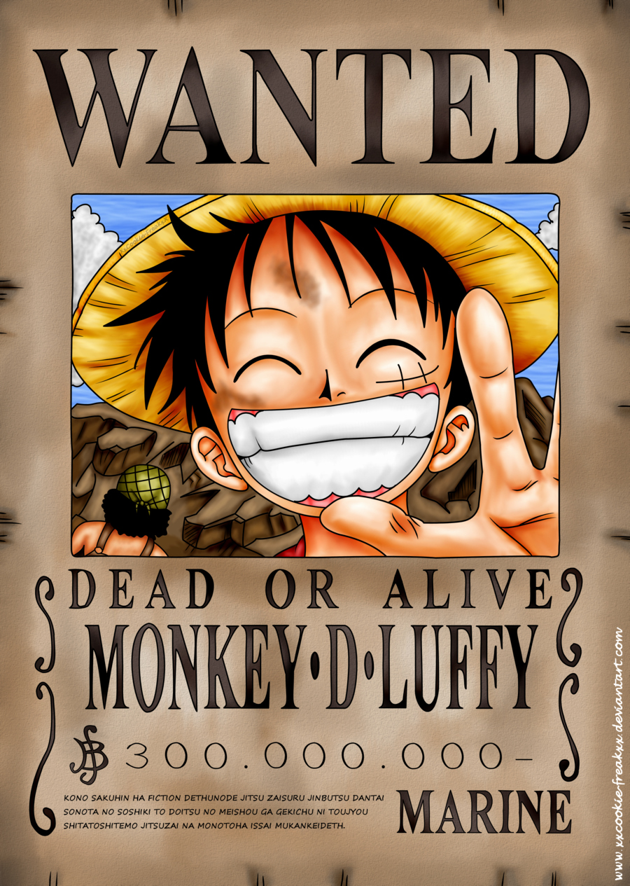 Monkey D Luffy Wanted Poster Lovely E Piece Wanted Poster Luffy
