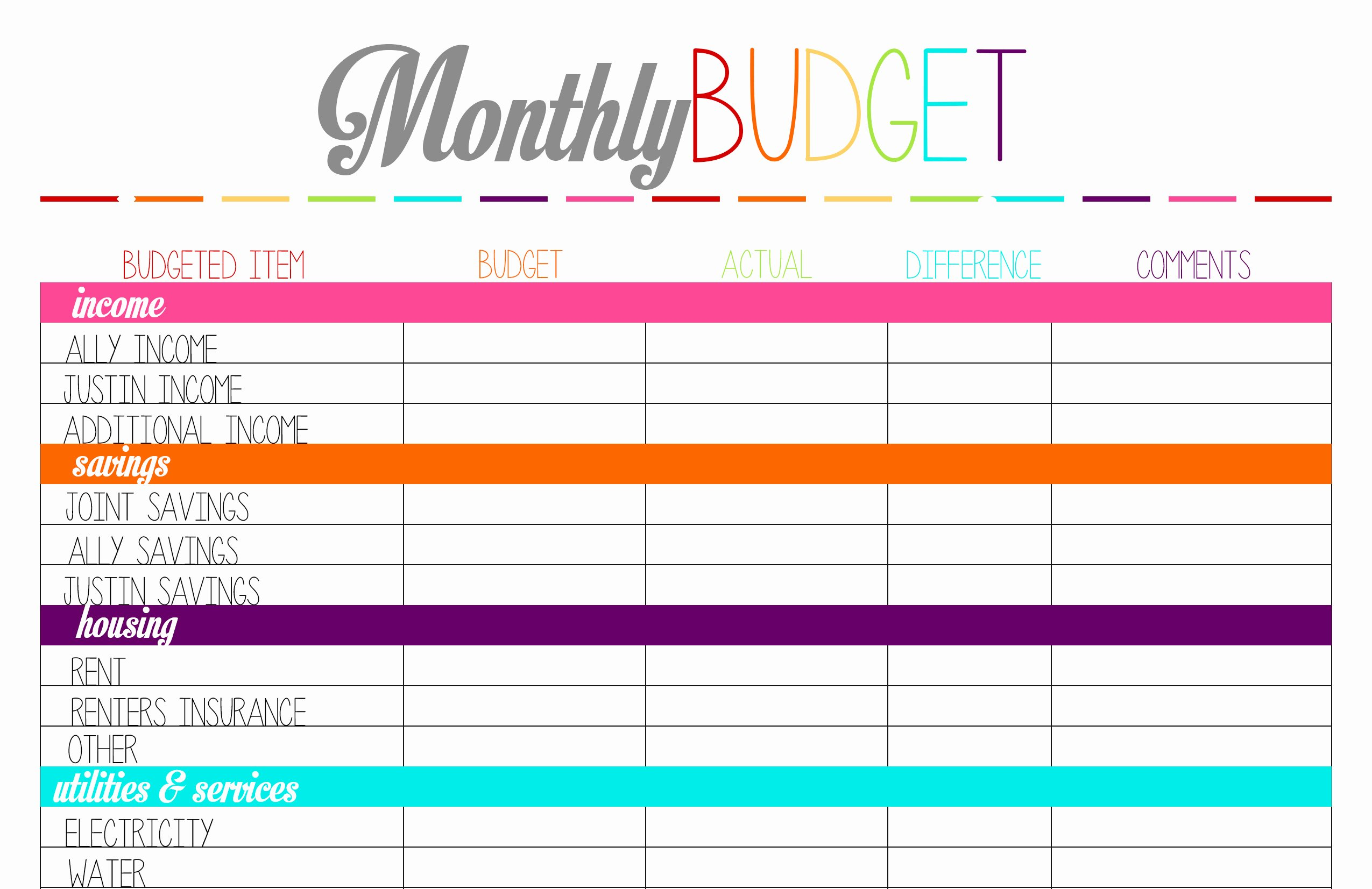 Monthly Budget Calendar Printable Fresh Free Printable Tuesday Bud Planning Worksheets – Ally
