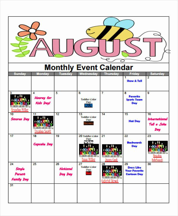Monthly event Calendar Template Beautiful 8 event Calendar Samples & Templates In Pdf