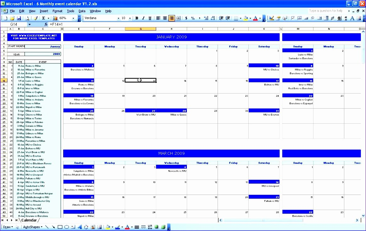 Monthly event Calendar Template Elegant 6 Monthly Timetable Template Excel Exceltemplates