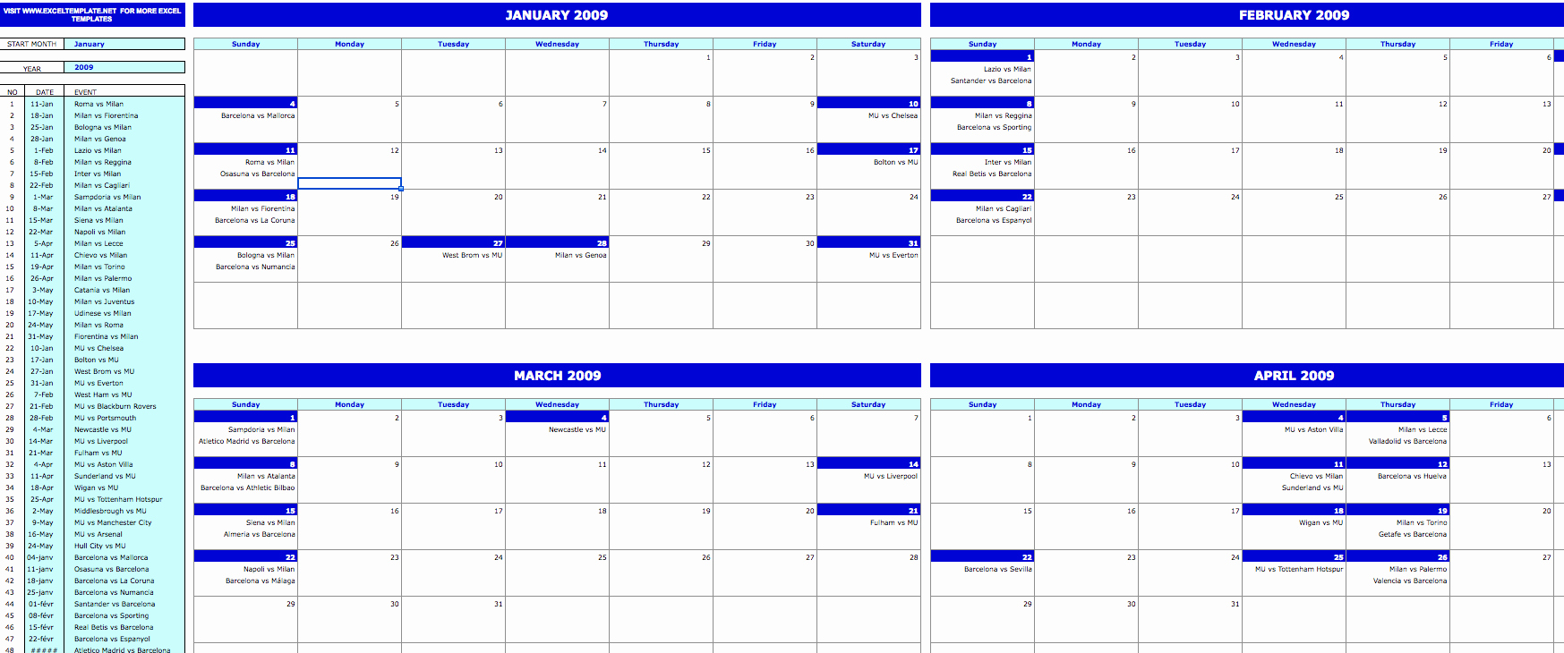 Monthly event Calendar Template Elegant Monthly event Calendar Exceltemplate