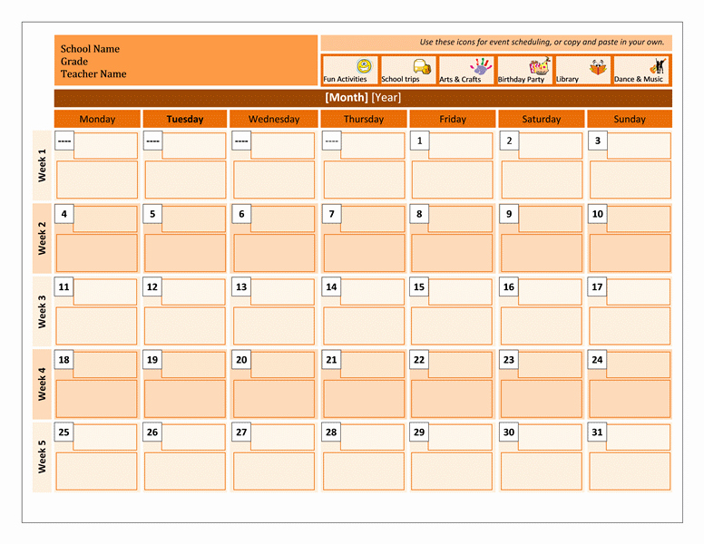 Monthly event Calendar Template Inspirational Monthly event Scheduling Calendar Template