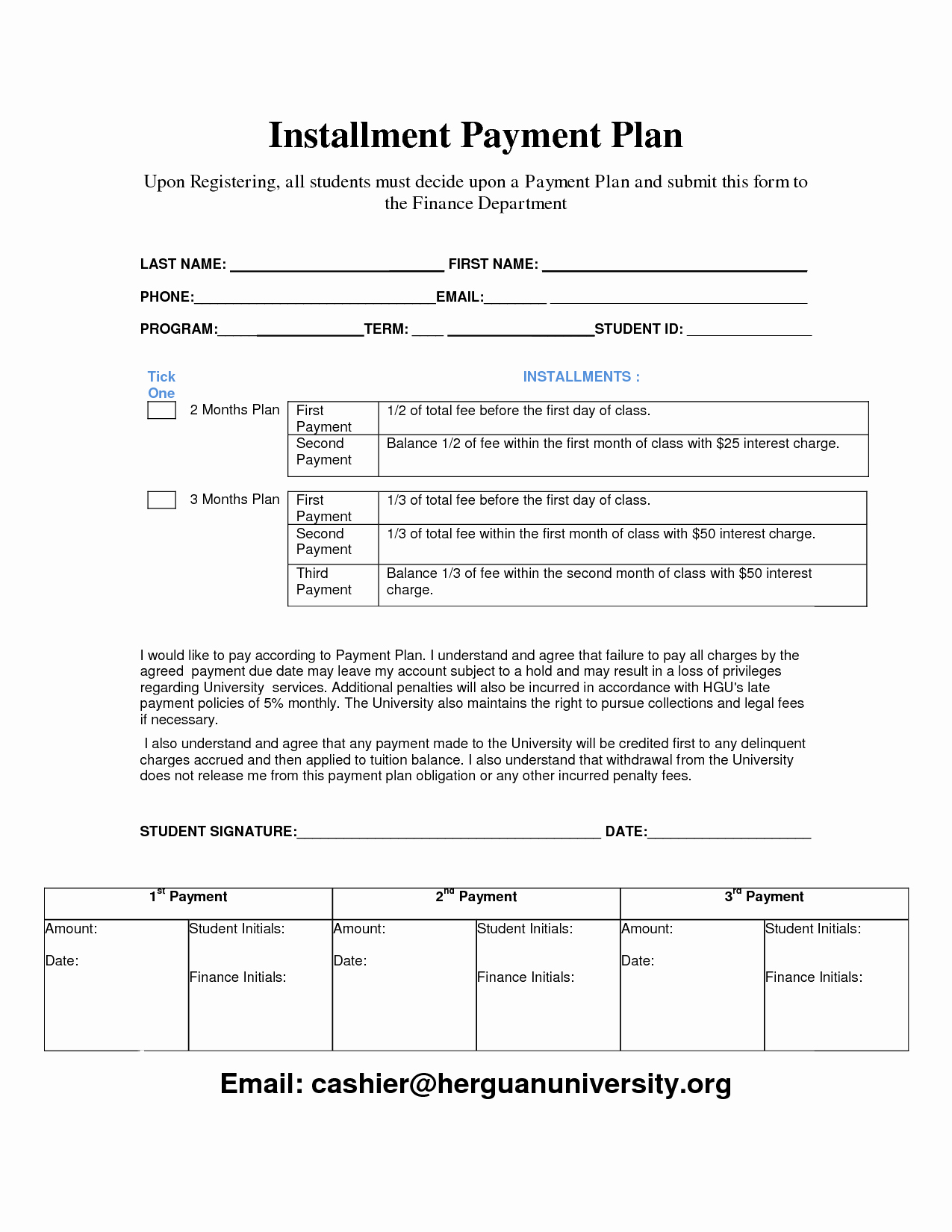 Monthly Payment Plan Template Fresh Payment Plan Template