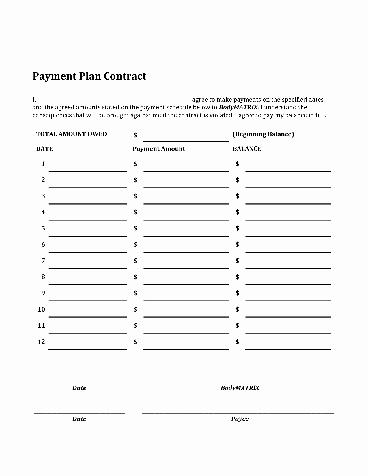 Monthly Payment Plan Template Unique Payment Plan Template