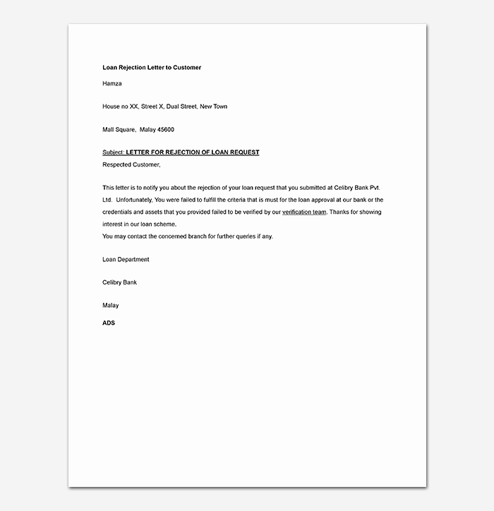 Mortgage Denial Letter Sample Beautiful Rejection Letter Template 38 Free Samples & formats