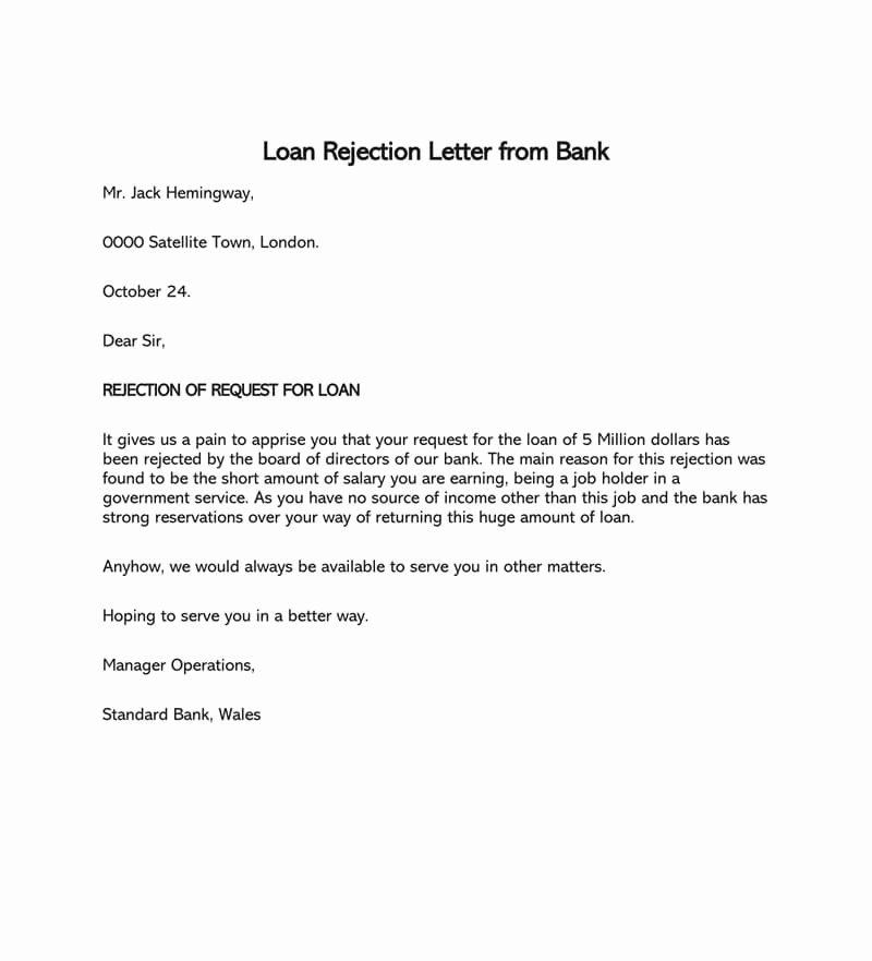 Mortgage Denial Letter Sample Fresh Loan Application Rejection Letter 15 Sample Letters