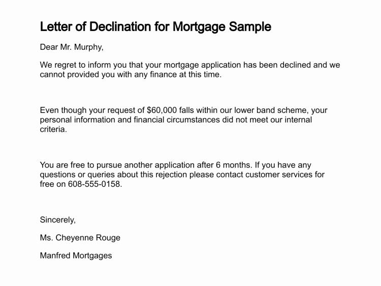 Mortgage Denial Letter Sample Lovely Letter Of Declination