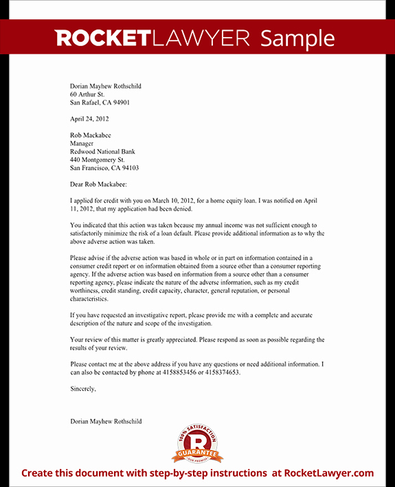 Mortgage Denial Letter Sample Luxury Letter Challenging A Credit Denial with Sample