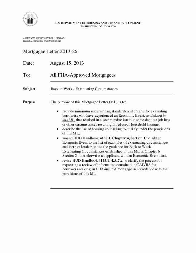Mortgage Denial Letter Sample New Fha Announces You Can 1 Year From foreclosure Short