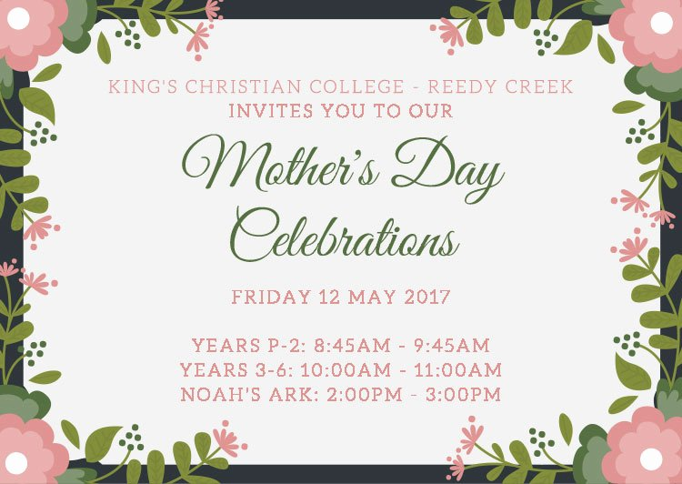 Mother Day Invitation Card Awesome Reedy Creek Pimpama Logan Village