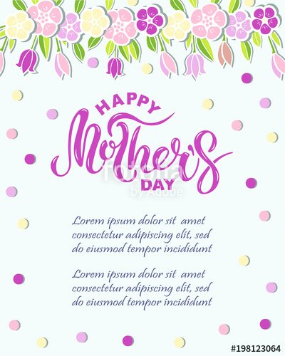 "Mother Day Invitation Card Beautiful ""happy Mother S Day Text isolated On Background with Pink"