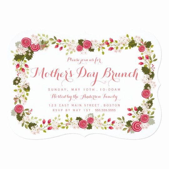 Mother Day Invitation Card Beautiful Sweet Pink Floral Mother S Day Brunch Invitation