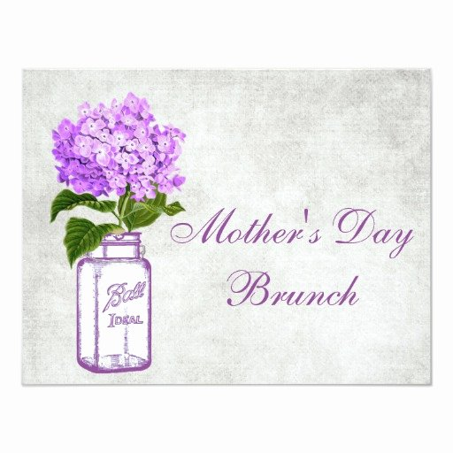 Mother Day Invitation Card Elegant Mason Jar & Purple Hydrangea Mother S Day Brunch 4 25x5 5
