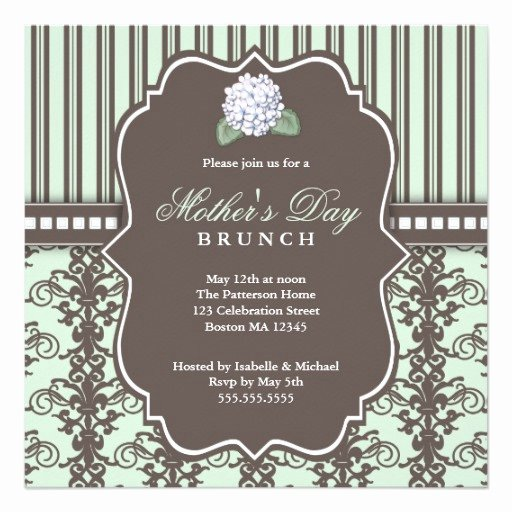 Mother Day Invitation Card Fresh Chic Damask Stripe Mother S Day Brunch Invitation Square