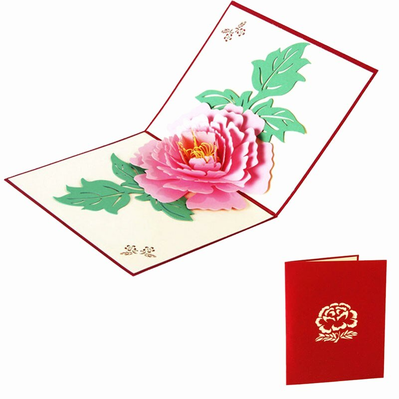 Mother Day Invitation Card Luxury 3d Pop Up Greeting Cards Peony Birthday Mother Day
