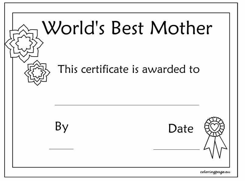 Mothers Day Card Template Best Of Printable Mother's Day Certificate Template