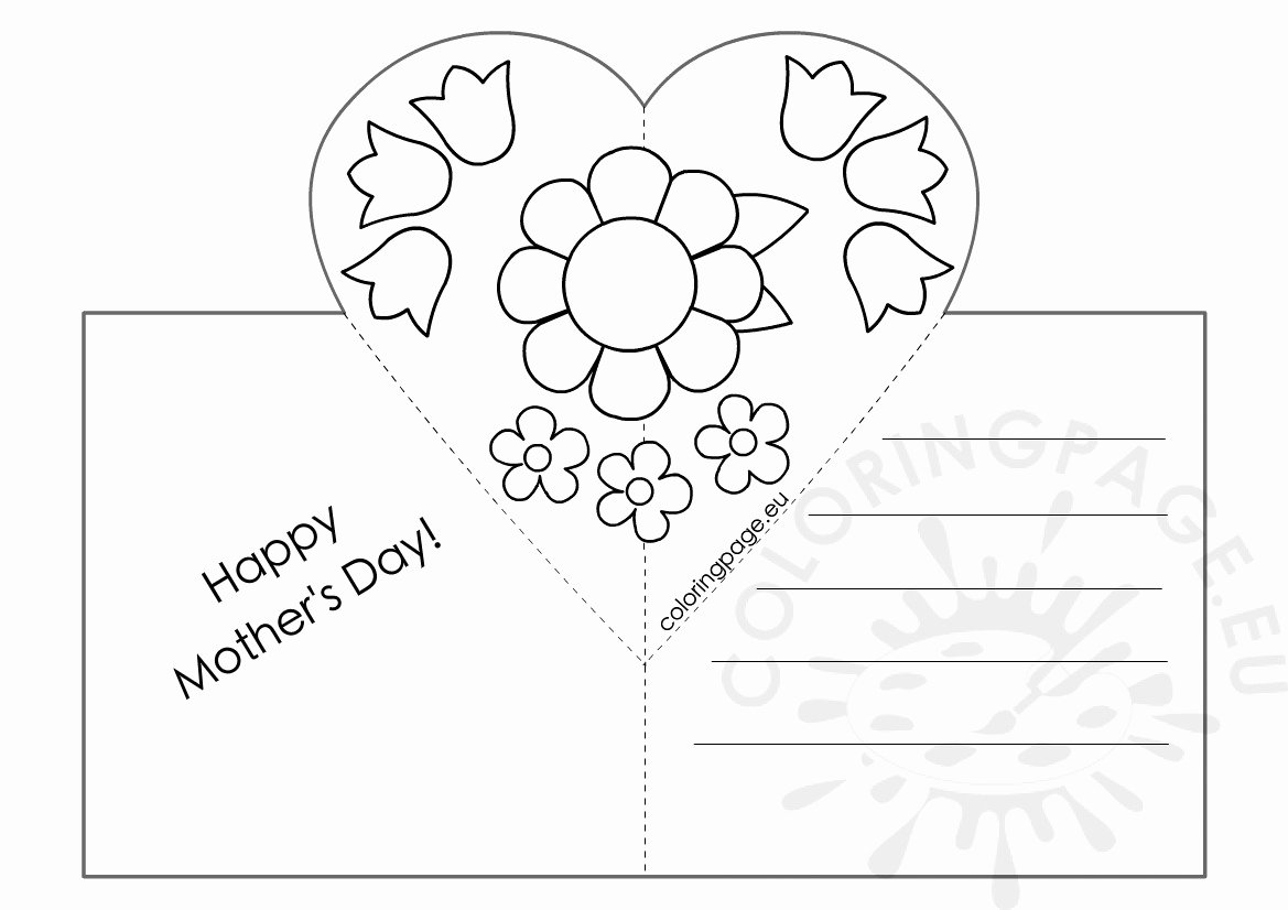 Mothers Day Card Template Elegant Mothers Day Card with Heart Pop Up Template – Coloring Page