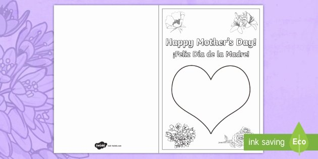 Mothers Day Card Template Luxury Mother S Day Fingerprint Gift Card Template English