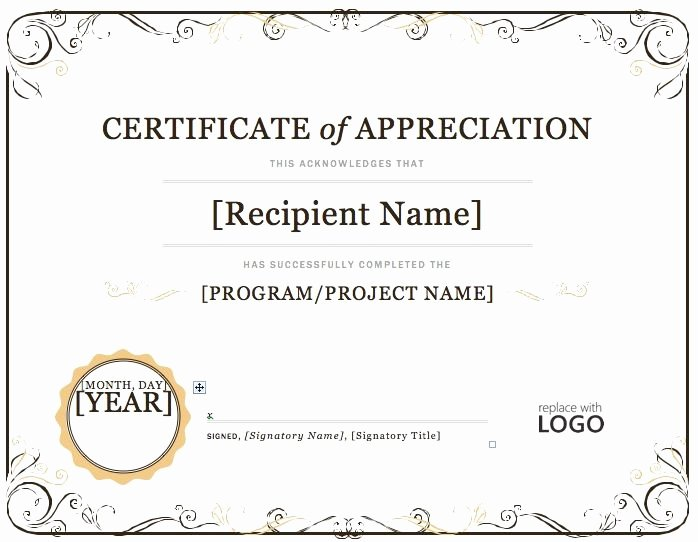 Ms Word Diploma Template Beautiful Certificate Of Appreciation – Microsoft Word