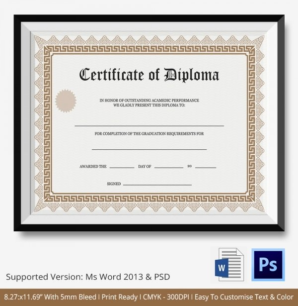 Ms Word Diploma Template Unique Diploma Certificate Template 25 Free Word Pdf Psd