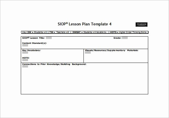 Ms Word Lesson Plan Inspirational Siop Lesson Plan Template Free Word Pdf Documents