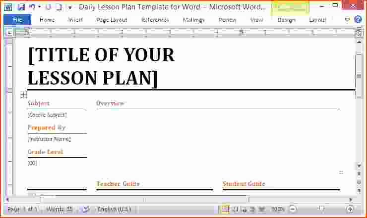 Ms Word Lesson Plan Luxury 7 Microsoft Word Lesson Plans Bookletemplate