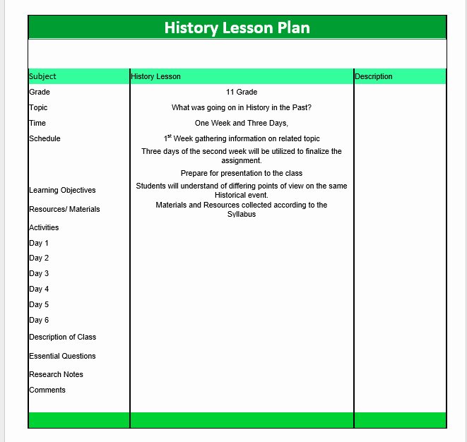 Ms Word Lesson Plan New History Lesson Plan Template – Microsoft Word Templates